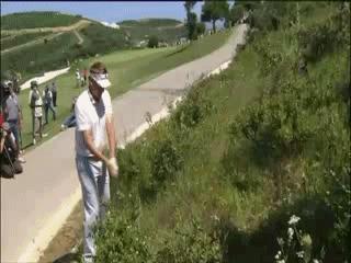 Golfer Falls Down Hill