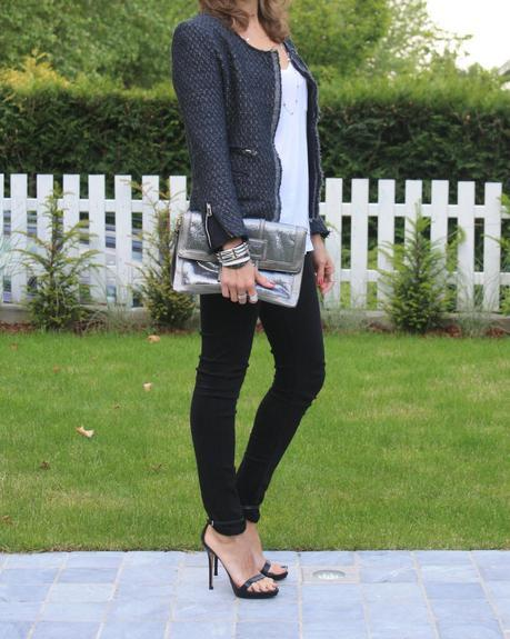White tee, black jeans and a tweed jacket