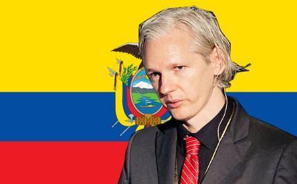 Julian Assange in front of the Ecuadorian Flag