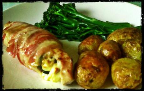 Spinach & Feta stuffed Turkey, wrapped in Pancetta