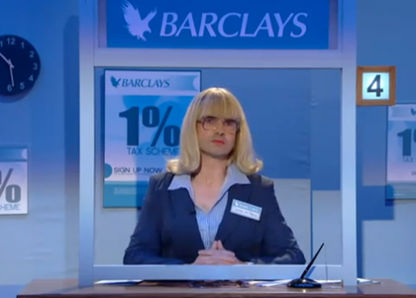 Jimmy Carr in his Barclays Sketch