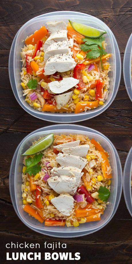 overhead view of two chicken fajita lunch bowls