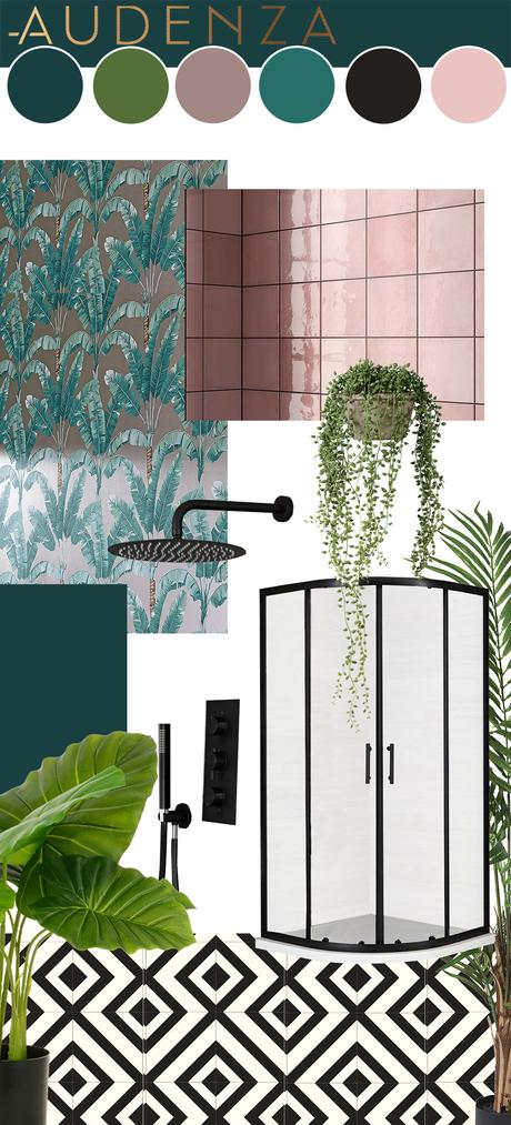 Pink & teal tropical bathroom inspiration - with monochrome vinyl flooring, pink tiles, tropical wallpaper and lush house plants.