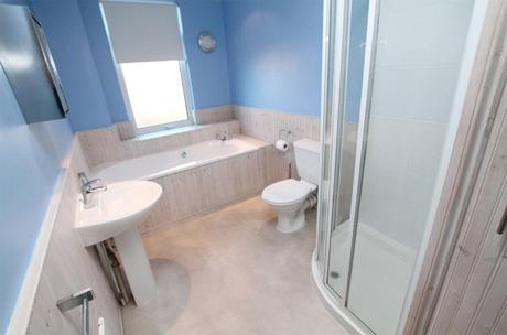 Pink & teal tropical bathroom inspiration - before photo