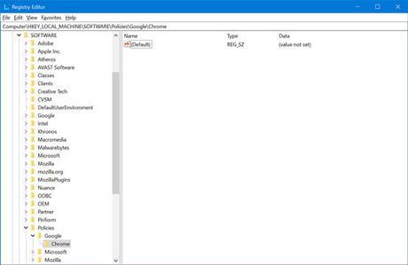 Chrome registry in windows 10