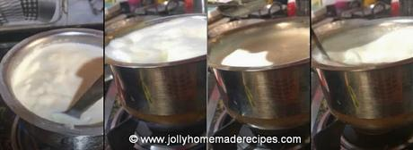 Boiling and curdling milk to make chenna