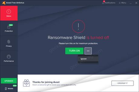 ransomware shield in turned off message in avast free antivirus