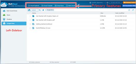 Multcloud user interface