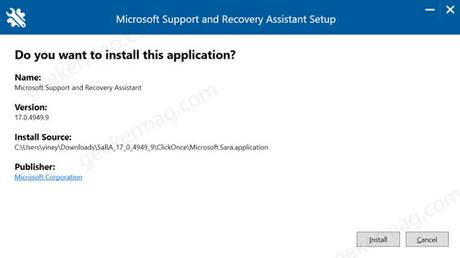 Install Microsoft Support and Recovery Assistant