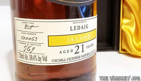 1997 Chieftain's Ledaig 21 Years Stats Label