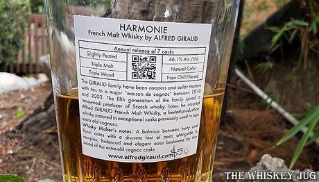 Alfred Giraud Harmonie French Malt Whisky Back Label