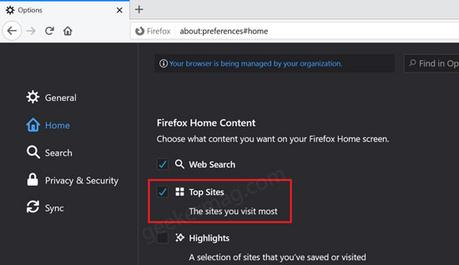 enable disable top sites in firefox new tab page