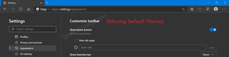 microsoft edge default theme settings missing