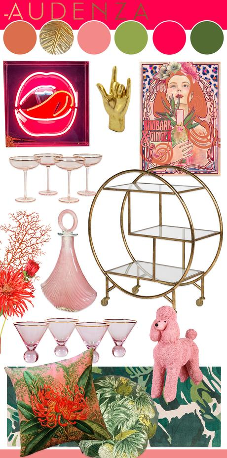 Living room color scheme inspiration - quirky pink home bar with neon lips and gold round drinks trolley.
