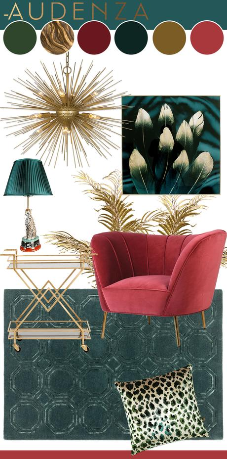 A luxurious and sophisticated living room color scheme with a teal and cherry pink color palette and glamorous gold home accessories