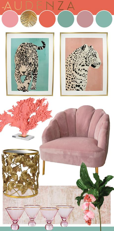 Pastel pink and blue interior color inspiration for a Miami vibe in your home