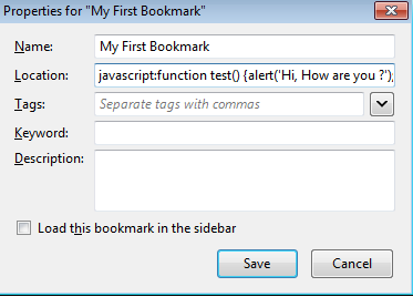 How to Create Javascript Bookmarklet in Mozilla Firefox