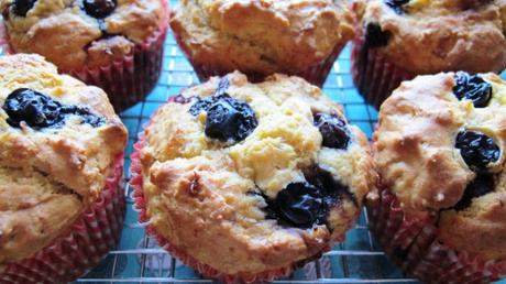 Blueberry, banana and custard muffins