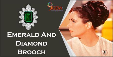 Elizabeth Taylor Emerald and diamond brooch