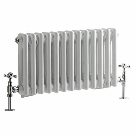 Milano Windsor - Horizontal Double Column White Traditional Cast Iron Style Radiator - 300mm x 605mm