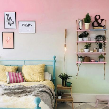 Pink and green ombre painted wall in the bedroom