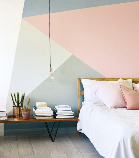 Pastel geometric painted wall by Fired Earth