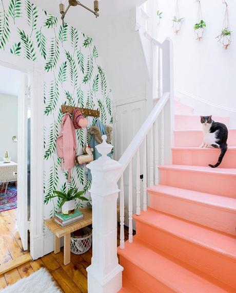 Peach ombre painted staircase