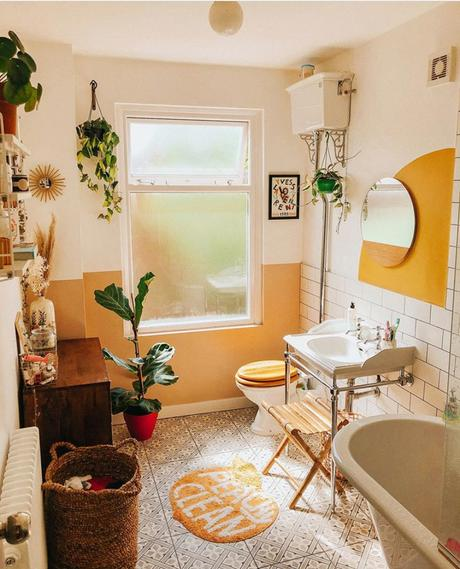 White and yellow bathroom inspiration with half painted wall