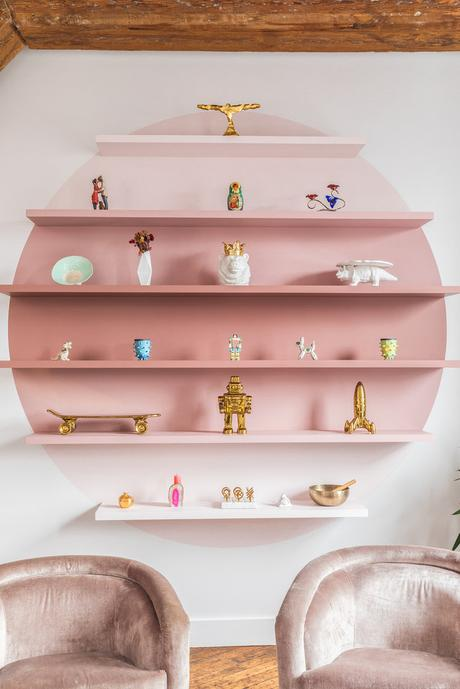 Unusual painted wall ideas - tonal pink shelving feature wall