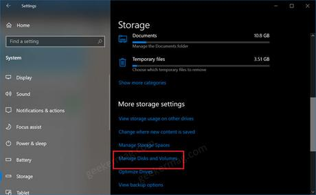 manage disk and volumes in windows 10 settings app