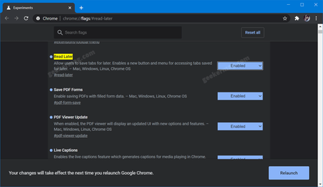 Google introduced a new feature 'Read later' in Chrome Canary v86.0.4214.0