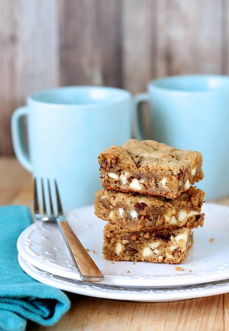 Browned Butter Blondies with White Chocolate Chips and Pecans