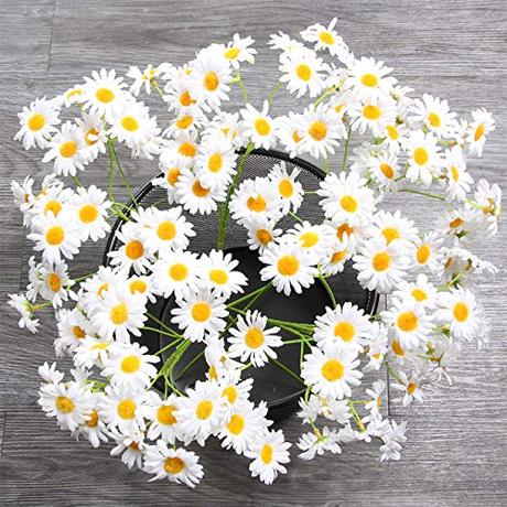 AmyHomie Artificial Flowers, Silk Daisy, Artificial Gerber Daisy for Home Decoration, Artificial Daisy for Wedding Decoration (White) …