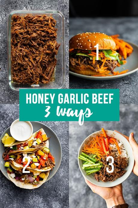 collage image showing honey garlic beef meal prep plan