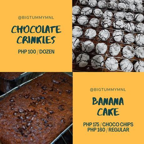 Freshly Baked Banana Cake and Crinkles From Big Tummy MNL.