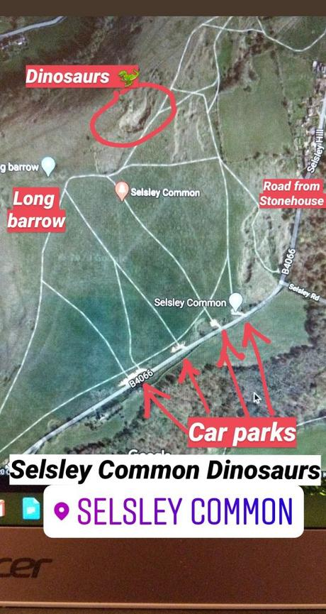 Visiting Selsley Common dinosaurs + maps to find them!