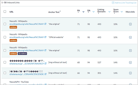 Inbound links report from Moz