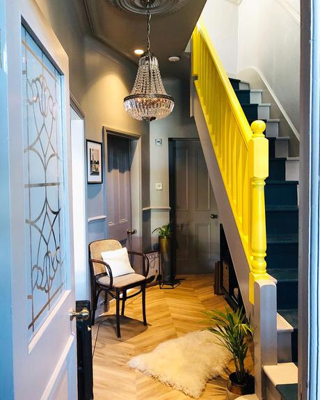 Edwardian period home with quirky decor and yellow bannister