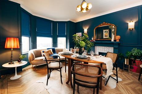Navy blue dining room in a contemporary Edwardian Home