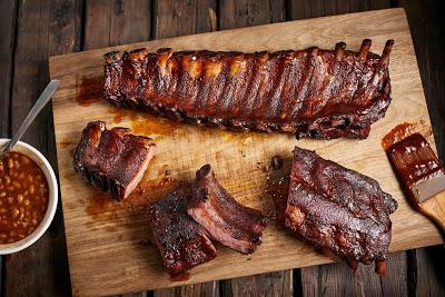 Easy to Smoke Barbeque Ribs   With Baked Beans And Quick Roast Potatoes