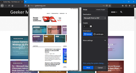 Firefox v81 gets new (Chrome-like) Print Preview UI