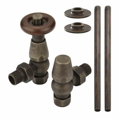 Milano Windsor - Traditional Thermostatic Angled Radiator Valve and Pipe Set Aged Bronze