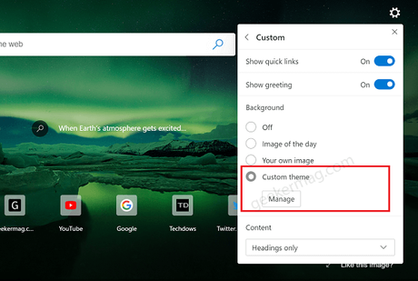 custom theme option in new tab page menu of edge browser