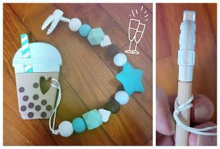Customised pacifier clips with teether for baby