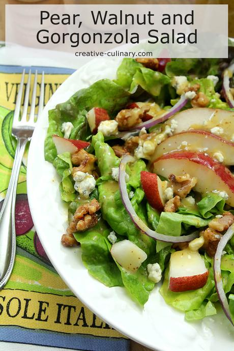 Pear, Walnut and Gorgonzola Salad with Maple Dijon Dressing