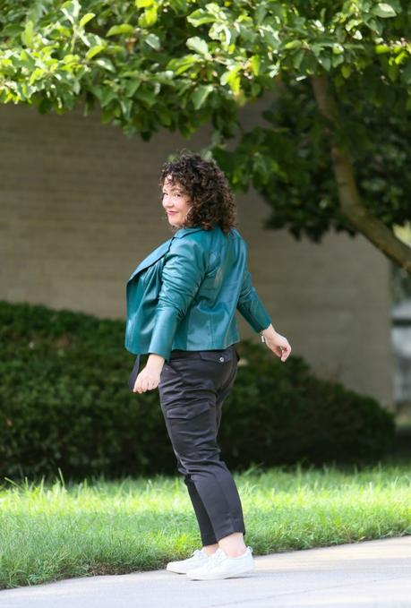 A Green Faux Leather Moto Jacket for Fall