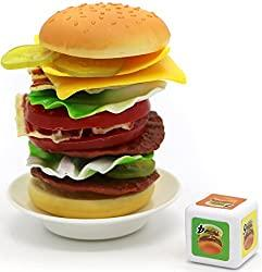 Image: Cheese Burger Game with 17 Stacking Hamburger Pieces for 2-4 Players for Ages 3 and Up | Brand: Little Treasures