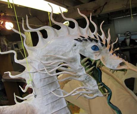 The Year of the Paper Mache Dragon- spines and a face