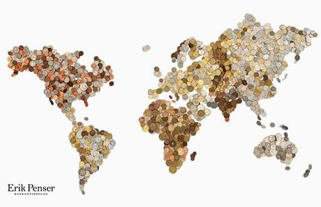 Bedow Studio-Map Made of Coins