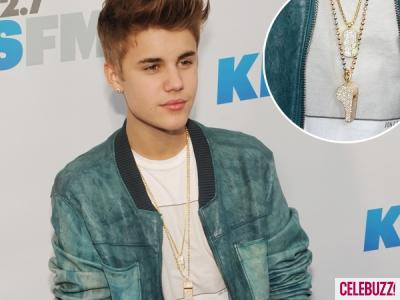 Justin Beiber wearing a diamond encrusted whistle worth $34,500.